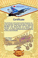 Incredible Adventures is Certified to arrange MiG flights over Russia by NAZ Sokol, JSC and the Russian Federation Government CLICK TO ENLARGE